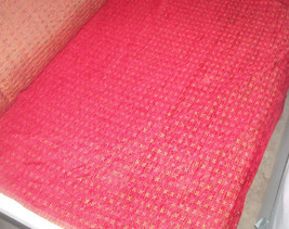 Red Keystone Print Chenille Upholstery Fabric 1 Yard - $14.95