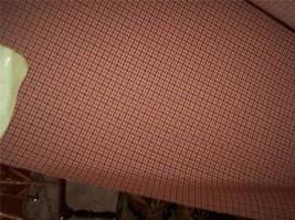 Burgundy Tan Check Fabric Upholstery Fabric  1 Yard - $19.95