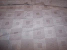 Cream Retro Square Print Jacquard Fabric/Upholstery Fabric Remnant - $9.95