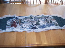 Santa Christmas Snowy Scene Tablerunner with Lace Trim - $19.95