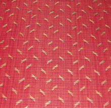 Brick & Gold Print Damask Upholstery Fabric Remnant F180 - $19.95