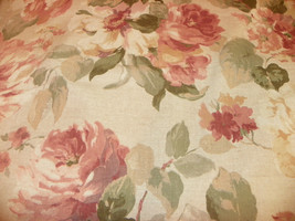 Mauve Beige Flower Print Cotton Upholstery Fabric 1  Yard  R947 - $19.95