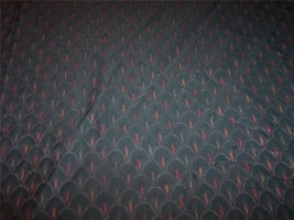 Dark Green Red Shell Print Fabric Upholstery Fabric Remnant 1 Yard - $19.95