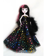 Handmade Dress Gown Black Metallic Dots for Monster High Dolls - $14.00