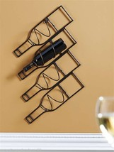 "28"" Metal Wine Bottle Holder - Holds 4 Bottles  - Wall Mounted  Wine Rack"