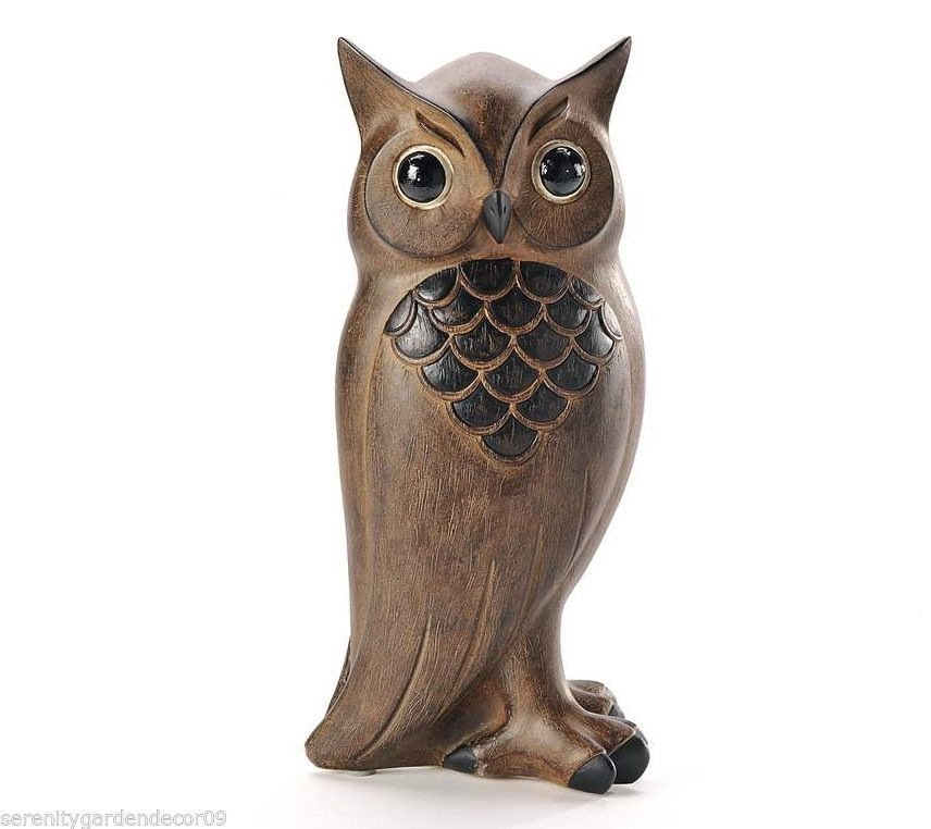 "10"" Owl Figurine with Wood Carved Detailing Rustic Black & Brown Polystone NEW"