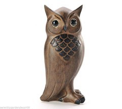 """10"""" Owl Figurine with Wood Carved Detailing Rustic Black & Brown Polystone NEW"""