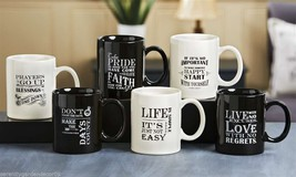 Set of 6 - Inspirational Mugs - Ceramic - Black & Cream - 6 Styles  NEW