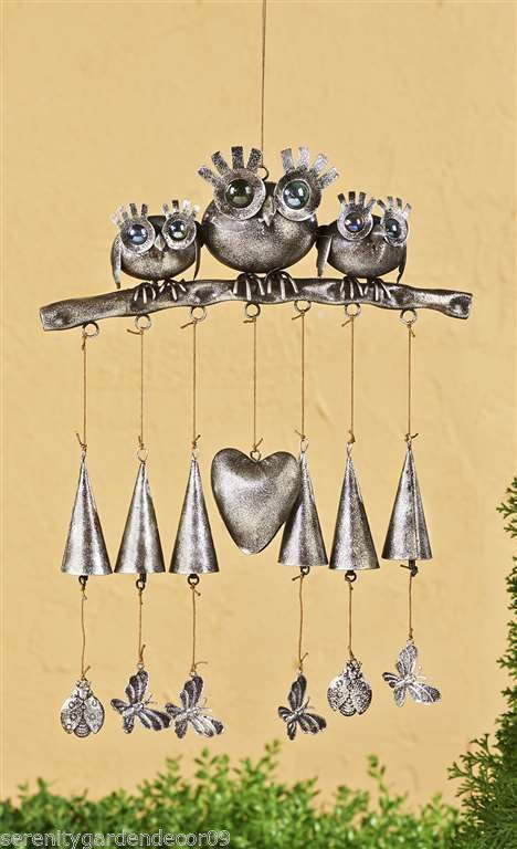 "28"" 3 Owl Windchime Iron & Acrylic NEW"