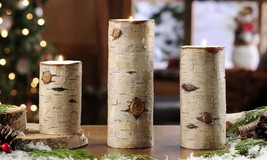 "Set of 3 Rustic Birch Wood Look Tealight Votive Candle Holders 8.5"", 7"", 5"" high"
