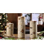 """Set of 3 Rustic Birch Wood Look Tealight Votive Candle Holders 8.5"""", 7"""",... - $54.44"""