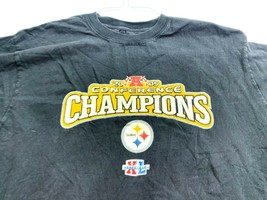 Pittsburgh Steelers Football Reebok T-Shirt Black Large 2005 Conference Champs - $14.30