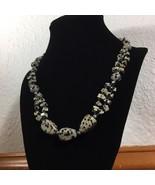 "Dalmatian Jasper Black Speckled Gemstone Necklace 20"" - $35.15"