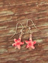 Pink Floral Starfish Beaded Dangle Pierced Earrings New Gift - $7.70