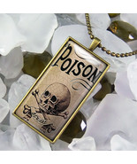 Poison Skull & Crossbones Voodoo Bottle Label Antique Bronze Glass Necklace - $17.99