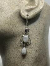 Vintage Antique Rainbow Moonstone Lever Back Earrings 925 Sterling Silver - $94.05