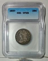 1837 Capped Bust Quarter Dollar 25¢ Coin VF25 ICG Lot# MZ 4746