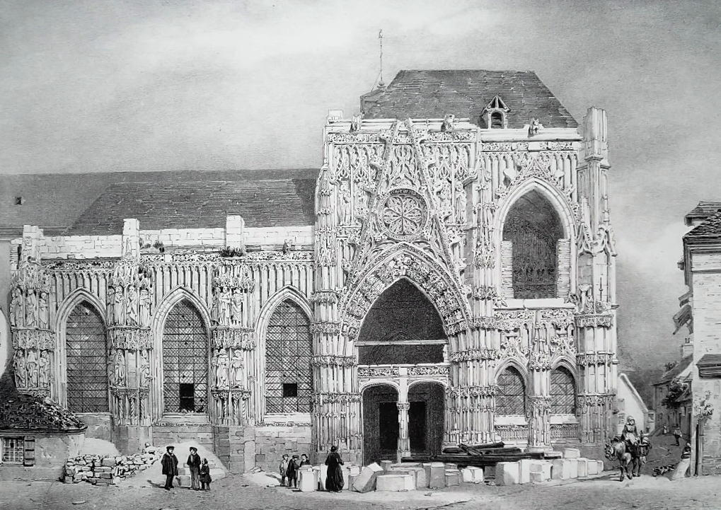 FRANCE Facade of Saint-Wulphy Church at Rue - SUPERB 1843 Antique Print