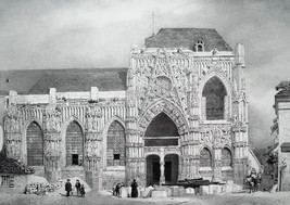 FRANCE Facade of Saint-Wulphy Church at Rue - SUPERB 1843 Antique Print image 1