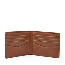 NEW FOSSIL MEN'S LEATHER CHARLES BIFOLD CREDIT CARD WALLET COGNAC image 2