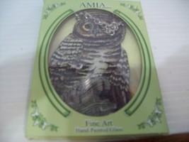 """Owl"" Suncatcher Hand Painted Glass By AMIA Studios 4.5"" - $12.86"