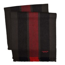 Coach Mens Oxblood Red Striped Wool Blend Rectangle Long Scarf F86547 87... - $98.00