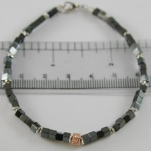 BRACELET GIADAN 925 SILVER HEMATITE GLOSSY AND DIAMONDS WHITE MADE IN ITALY - $194.31