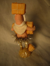 Vintage inspired Spun Cotton Christmas Piece Santa with Tons of Presents Pink image 2