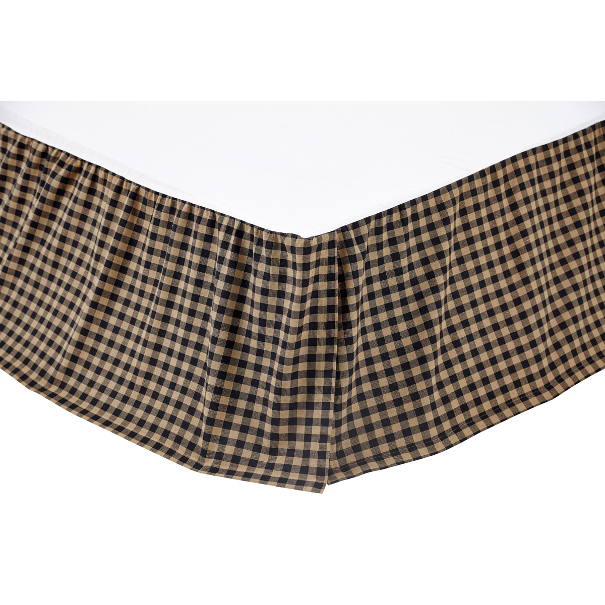 BLACK CHECK Bed Skirt for King/California King - Raven and Khaki  - VHC Brands