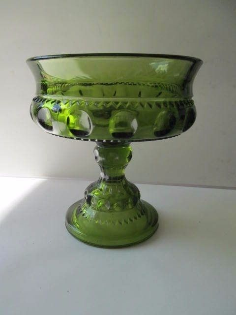 Indiana Glass Olive Green Kings Crown Thumbprint Footed Compote Candy Dish 5-1/8 - $9.89