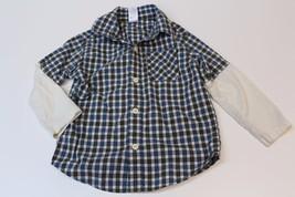 K4721 Boys Gymboree Blue/Green Plaid Double Sleeve Long Button Up Shirt 3T - $21.24