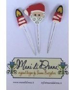 Santa Claus Pinushion Pin Set for Santa Claus Shaker Box Mani Di Donna  - $12.00