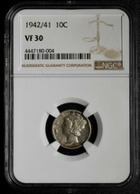 1942/41 Silver Mercury Dime 10¢ Coin VF30 NGC Lot# A 552