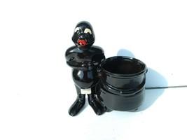 Vintage Black Americana Ceramic Planter African Traibal Man Next to Caul... - $24.50