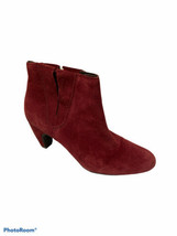 Ann Taylor LOFT Burgundy Ankle Heel Boots Women's Size 8 Suede Leather Almond T - $25.60