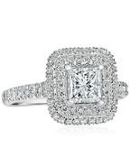 1.69 Ct Princess Cut Double Halo F-SI1 Diamond Engagement Ring 18k White... - $3,377.99