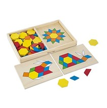 Melissa & Doug Pattern Blocks and Boards - Classic Toy With 120 Solid Wo... - $19.99