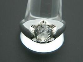 UNCAS 18k HGE Clear Goshenite Solitaire Silver Tone Ring 12.75 Vintage - $39.59
