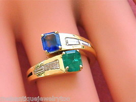 VINTAGE .80ctw DIAMOND .70ct EMERALD .75ct SAPPHIRE BY-PASS YOU & ME RIN... - $3,068.01
