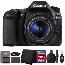 Canon EOS 80D Digital SLR Camera with 18-55mm Lens and Accessory Bundle - $1,012.26