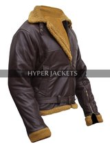 B3 Ginger Aviator Shearling Flying Pilot Real Sheepskin Bomber Leather Jacket image 4