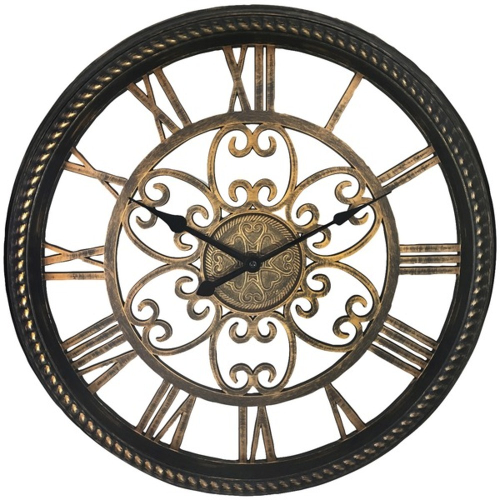 Westclox 32949BK 19.5 Wall Clock with Antique Black & Gold Finish