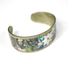 Vintage Inlaid Abalone Shell Star Mexico Fashion Costume Jewelry Cuff Br... - $18.89
