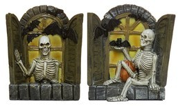 Halloween Decor - Set Of 2 3.5 Inch Skeletons In Windows Figurines - £8.71 GBP