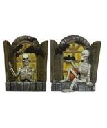 Halloween Decor - Set Of 2 3.5 Inch Skeletons In Windows Figurines - $11.98