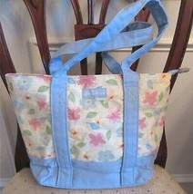 Longaberger Floral Blooms Zippered Tote Bag Purse Double Handles Blue Fl... - $16.00