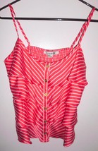 FOREVER 21 Camisole Top MEDIUM Women Coral White Striped Spaghetti Strap... - $11.87