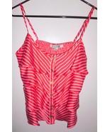 FOREVER 21 Camisole Top MEDIUM Women Coral White Striped Spaghetti Strap... - $11.87