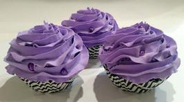 Purple Cupcakes Set of 3- Faux Cupcakes Fake Cake Lavender - $23.75