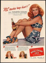 Vintage magazine ad ROYAL CROWN COLA from 1945 Paulette Goddard in Duffys Tavern - $13.49